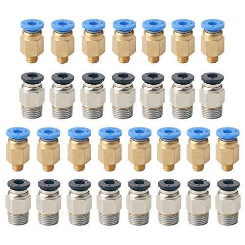 QitinDasen 30Pcs Professionell 3D-Drucker Push Fitting Verbinder Set: 15Pcs PC4-M6 Schnellkupplung und 15Pcs PC4-M10 Gerade Pneumatikkupplung