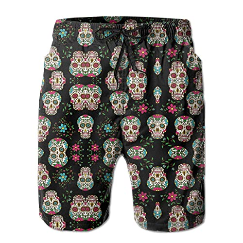 GOSMAO Bañadores para Hombre Sugar Skull and Roses Bañador para Hombre Pantalones de Playa Impermeables de Secado rápido Pantalones Cortos de Playa