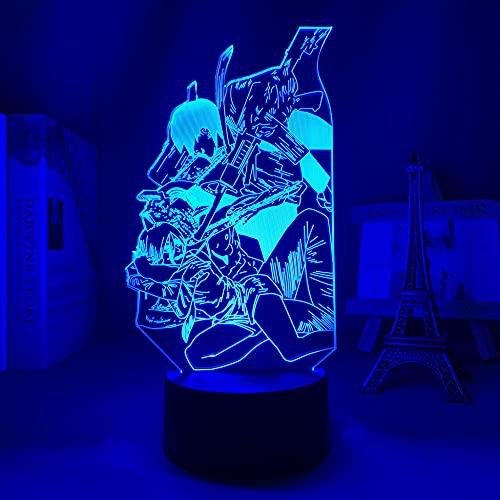3D Night Light Anime Figura Ilusión Luz Motosierra Hombre LED Manga/Neon Lámpara para decoración de dormitorio, iluminación de mesa para regalo de cumpleaños. 16 colores de cambio