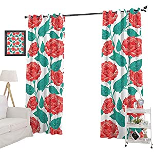 YUAZHOQI Blackout Curtain Set Vintage Inspired Pastel Colored Painting of Roses Fascination Retro Love Story, Blackout Drapes for Living Room, Red White Green