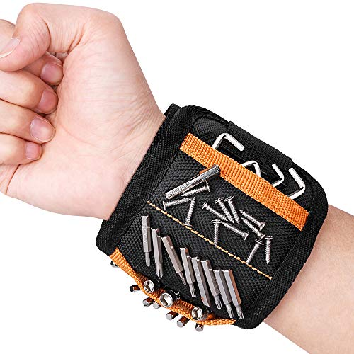 Magnetische Armbänder, Jooheli Magnetisches Armband mit 15 kraftvollen Magneten, Herren Magnetarmband Werkzeug Geschenke für Männer Vater Tischler, Halten