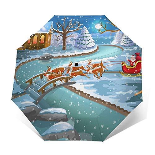 Windproof Portable Umbrella Cartoon Santa Claus passing through the Forest Travel Folding Umbrella Sun & Rain Protection