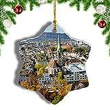 Weekino Suiza Casco Antiguo de Zurich Decoración de Navidad Árbol de Navidad Adorno Colgante Ciudad Viaje Porcelana Colección de Recuerdos 3 Pulgadas