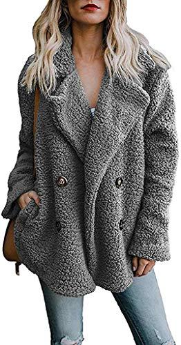 DaiWeiDress Damen Kunstfell Teddybär Jacke Flauschig Outwear Mantel