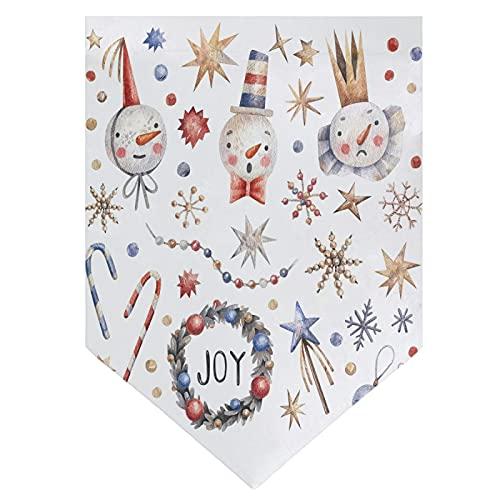 OMNHGFUG Bandera de Navidad con diseño de muñeco de nieve y estrellas de copos de nieve, guirnaldas de doble cara para decoración de patio al aire libre, 30 x 45 cm