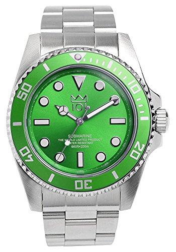 [HYAKUICHI 101] ダイバーズウォッチ スイープセコンド グリーン 200m防水 逆回転防止ベゼル 腕時計 メンズ