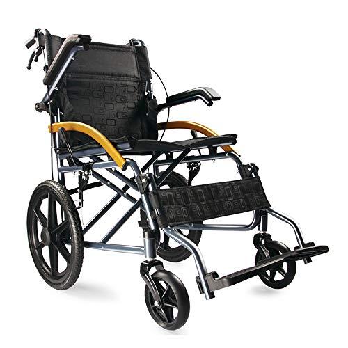 MMUY-1 Leichter Faltbarer Rollstuhl Mit Feststellbremse, Breathable Sitzkissen Und Verstellbare Pedale, Vollgummireifen Geeignet Für Verschiedene Straßenbedingungen