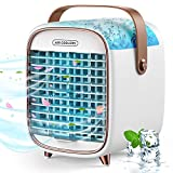 Portable Air Conditioner,Air Cooler Rechargeable with 3 Speeds,Personal Air Conditioner Desktop Air Cooler with Handle for Dorm Office Room,Portable AC for Camping Outdoor