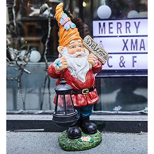 SDBRKYH Décoration de Jardin Sculpture, Statue Nain Statue GNOME Statue Santa Statue Résine Artisanat Extérieur Jardin Cour Cour Pelouse Ornement,Red