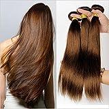 Ruma Hair #4 Middium Brown Brazilian Virgin Remy Hair Silky Straight Weave 3Pcs Lot Chocolate Mocha Brazilian Straight Human Hair Bundles Extensions (26 28 30)