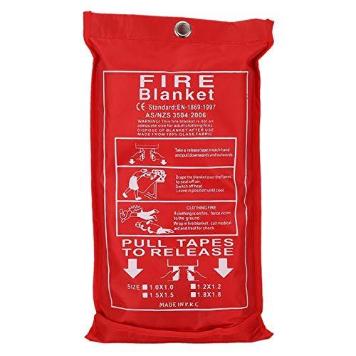 Nunafey Manta de Emergencia contra Incendios, diseño de Estuche Blando, Cocina Retardante, Manta de extinción de Incendios de Fibra de Vidrio Reutilizable,(1.8mx1.8m)