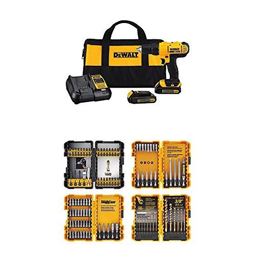 DEWALT 20V MAX Cordless Drill/Driver Kit with Screwdriver/Drill Bit Set, 100-Piece (DCD771C2 & DWA2FTS100)