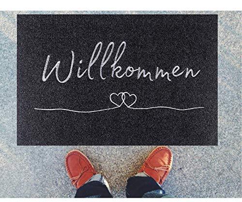 Remadi - Weiche Fußmatte - extra dünn 40x60cm - Polyester Wilkommen Türmatte - Anti rutsch Schmutzfangmatte - Grauer Fussabtreter (Anthrazit)