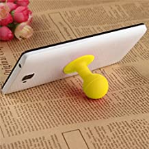 Universal Portable Cell Phone Silicone Suction Ball Stand Holder - Yellow