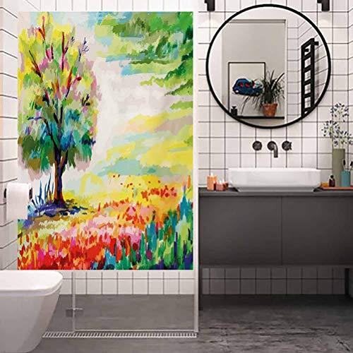 Pegatinas de vidrio esmerilado no adhesivas, diseño de flores dibujadas a mano con flores y árboles, para el hogar, ventana, control de calor, 23.6 x 35.4 pulgadas