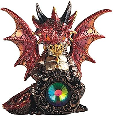"""Major-Q G8071767 7"""" Baby Fire Dragon with Black Horns and Gemstone Statue Figurine Home Decor Sculptures Polyresin"""