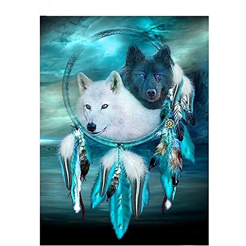 DIY 5D Diamante Pintura Completo kids Kits Pluma de lobo de fantasía Diamond Painting de Imitación de Cristal de Bordado Punto de Cruz lienzo Como Regalo Odecoración de Pared Regalo 70x90cm T1718