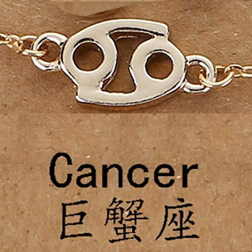 LIUL 12 Horóscopo Signo del Zodiaco Pulsera Colgante para Mujer Géminis Sagitario Escorpio Capricornio Piscis Tauro Pulsera Hombres Leo Zodiaco, Cáncer Dorado