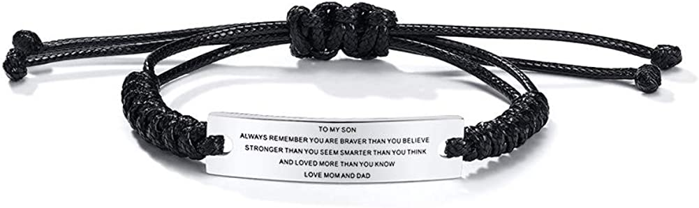 MEALGUET Stainless Steel Handmade Black Adjustable Cord Inspirational Courage Quote to My Son Bracelets to Boys, Birthday Graduation Gift Love Mom: Jewelry
