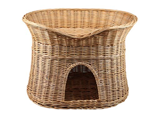 Damian-Wiklina Wicker Two Tier Pet Pod Cat/Dog Bed Basket – Natural wicker colour – Size XL (without pillows)