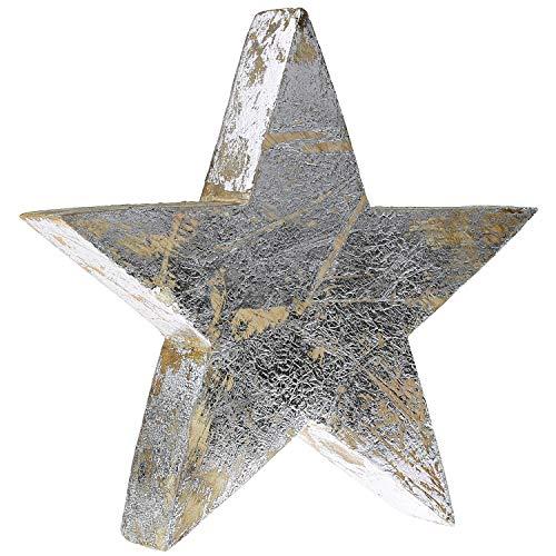 MACOSA WV39723 Weihnachtsdeko Stern Holz 19 cm Silber Holzstern Holz-Dekoration modern innen Tisch-Deko Fensterbank Fenster Weihnachten Advent