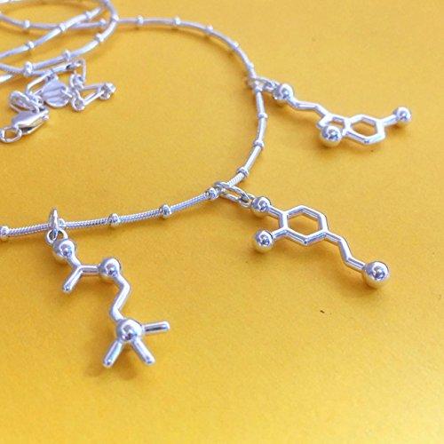 Creativity - Dopamine Serotonin Acetylcholine - Molecule Necklace in sterling silver