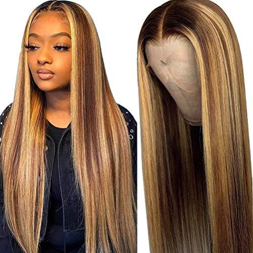 Xiaoxingyun Perucas de cabelo liso com tela frontal – Densidade 150% pré-arrancada moderna peruca marrom gradiente, peruca de cabelo longo liso para mulheres – 65 cm