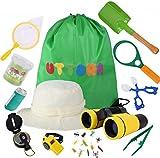 UTTORA Kit Explorador Niños, 25 Piezas Prismaticos Niños Kit de Binoculares para Niños 3-12 años de Edad Juguetes Niños Educativos Regalo de Cumpleaños con Mochila Brújula Binocular Insectos Linterna
