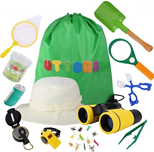UTTORA binocolo Bambini 25 in 1 Set di binocoli per Bambini Set di esplorazione all'aperto Ideale per 3 4 5 6-12 Anni Ragazzo e Ragazza Kit educativo per Bambini per Esterno (25 Pezzi)