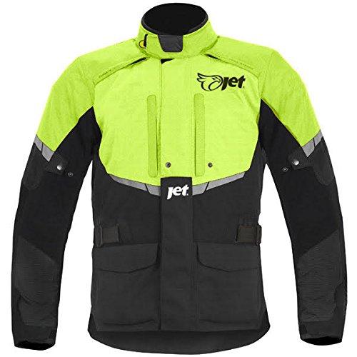 JET Chaqueta de moto impermeable con armadura negra fluorescente