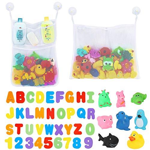 BBLIKE 2 Stück Bad Netz Große badespielzeug Aufbewahrung Mesh mit Bade Buchstaben und Zahlen (A-Z, 0-9), mit 6 Klebehaken und 8 Sound Spielzeug