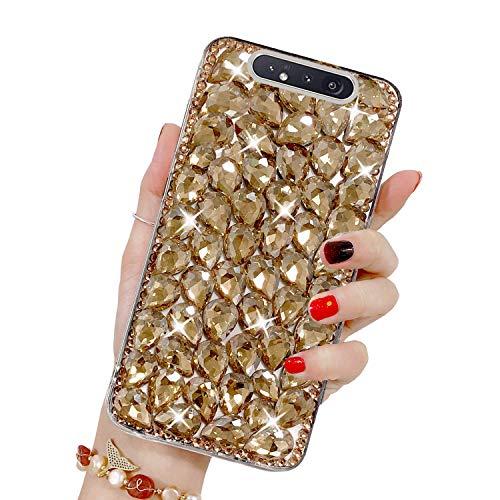 Bling Glitzer Hülle für Galaxy A80/A90, Misstars 3D Diamant Strass Handyhülle Transparent Hart PC Rückschale mit Silikon TPU Rahmen Schutzhülle für Samsung Galaxy A80/A90, Gold