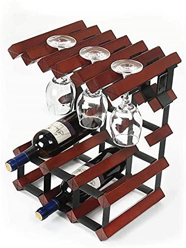 Inicio Equipo Estante para vinos Estante para copas de vino Estante para vino de madera maciza Estante para vino tinto de pie 6 botellas Estante de almacenamiento para 6 tazas Adornos Estante para