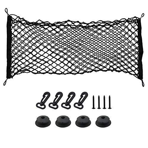ZONSUSE Car Trunk Storage Net,Car Luggage Net, 4 Hooks Car Universal Cargo Net Elastic Nylon Mesh Storage Rear Organizer Car Net Holder for Kids Luggage for SUV,Truck Bed or Trunk, 80cm x 30cm