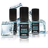 Vaps'Premium- E-liquide Menthe Glaciale- Arôme Naturel - 3 x flacons de 10 ml- 00 mg- Sans nicotine ni tabac
