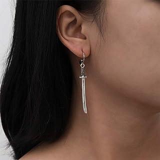 Aimimier Vintage Gothic Sword Hoop Earrings Han Dynasty Dagger Dangle Earrings Asymmetric Huggie Jewelry for Women or Men