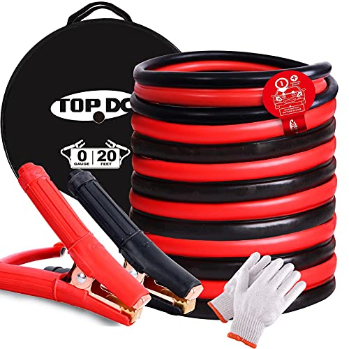 TOPDC Jumper Cables for Car Battery 0 Gauge 20 Feet -40℉ to 167℉ Heavy Duty Booster Cables with...