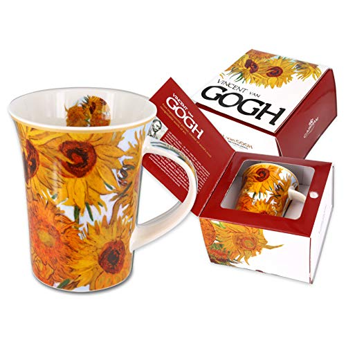 Carmani - Taza de porcelana decorado con 'Girasoles' de Vincent Van Gogh 350ml