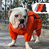 Lovelonglong Dogs Waterproof Jacket, Lightweight Waterproof Jacket Reflective Safety Dog Raincoat Windproof Snow-Proof Dog Vest for Pugs English French Bulldog American Pit Bull Orange B-S