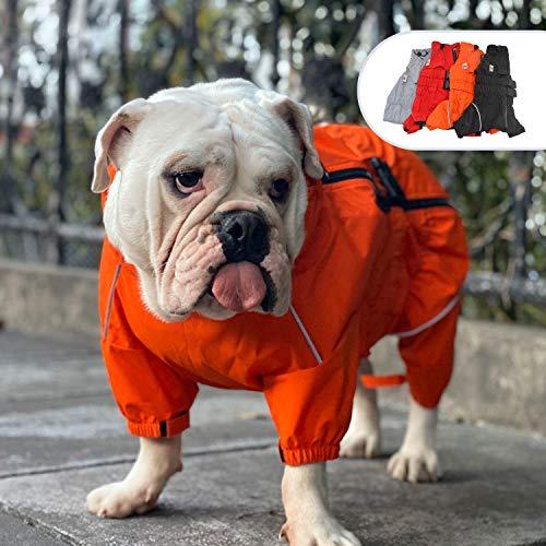 Lovelonglong Dogs Waterproof Jacket, Lightweight Waterproof Jacket Reflective Safety Dog Raincoat Windproof Snow-Proof Dog Vest for Pugs English French Bulldog American Pit Bull Orange B-L