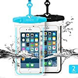 Universal Waterproof Case FITFORT 2 Pack Universal Dry Bag/Pouch Clear Sensitive PVC Touch Screen for iPhone X 8 Plus Galaxy S8 S7 Edge Note 4 LG G5 G3 Up to 5.5'(Black+Blue)