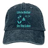 Life is Better On Theke Gorra de Mezclilla Deportiva Ajustable Snapback Unisex Llanura Sombrero de Vaquero de béisbol Estilo clásico