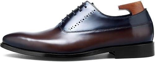 XWQYY zapatos Oxford de los hombres zapatos Inglaterra Trend Moderno de Charol Blando negro marrón Vestido de Negocios de Cuero,marrón-41EU