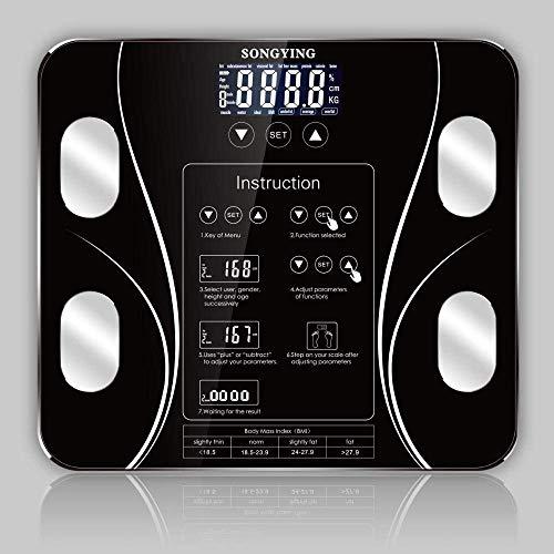 BINGFANG-W Discs Waage High Precision-Körper-Skala, intelligente Waagen Badezimmer-Körper-Skala-Digital-Mensch Gewicht Waage, 180Kg / 400LB Schwarz Abrasive