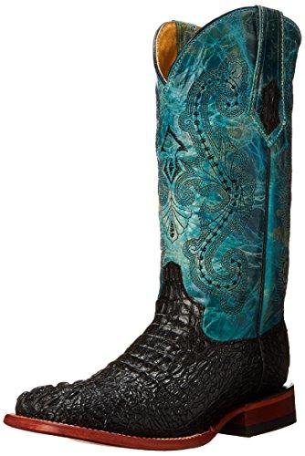 Ferrini Women's Ladies Print Caiman Blk/Turq Square Toe Western Boot, Black, 8 B US