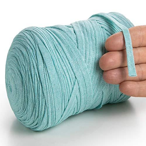MeriWoolArt Baumwollgarn für Stricken, Makramee, Häkeln, Weben, Geschenkband für Weihnachten - 10 mm Textilgarn, 150 m T-Shirt Garn - Neue Qualität (Aqua)