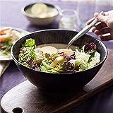HAILI Tableware, Porción de metal esmalte de cerámica Bowl por ensalada, cereales, desayuno, o sopa de fideos Pasta Pot vegetal Cuenca bandeja de frutas Negro 6 pulgadas