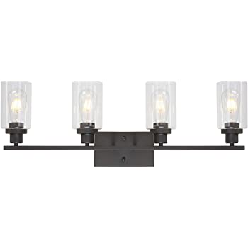 73473 Designers Impressions Juno Oil Rubbed Bronze 3 Light Wall Sconce//Bathroom Fixture with Amber and Clear Glass