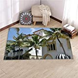 3D Typical Mediterranean Architecture on Worth Avenue on Palm Beach Multi-Function Carpets for Living Room Bedroom Kitchen Modern Soft Square Area Rugs, Home Decor Rugs 6x9 Feet