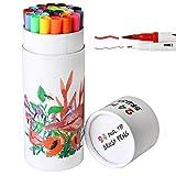 24 Dual Tip Brush Pens Markers, Fineliner Tip 0.4 mm & Watercolor Brush Tip Colored Pens Set for Coloring Books, Sketching, Bullet Journal , Art (24 color)